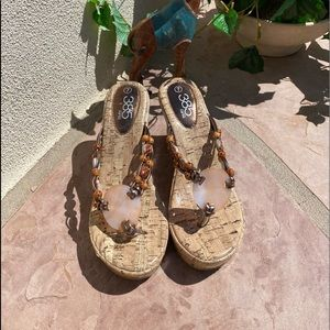 Fifth Womens Thong Sandals Multicolor Beige Cork 7
